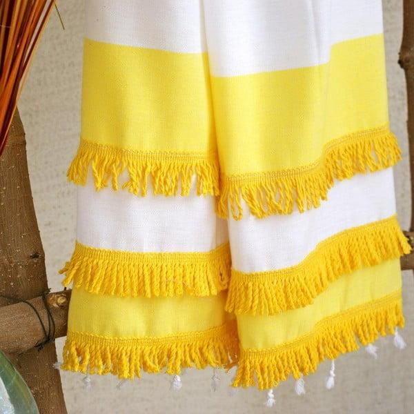 Hamam osuška Peshtemal Yellow, 100x180 cm