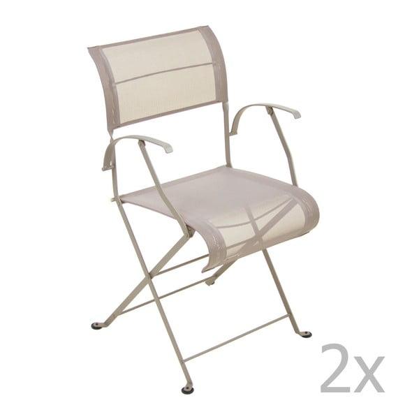 Sada 2 béžových skladacích stoličiek s opierkami na ruky Fermob Dune