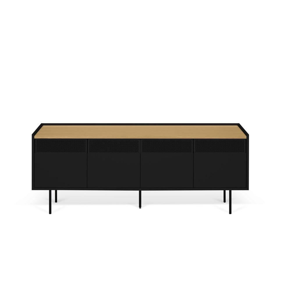 Čierno-hnedý televízny stolík TemaHome Radio, 160 × 60 cm