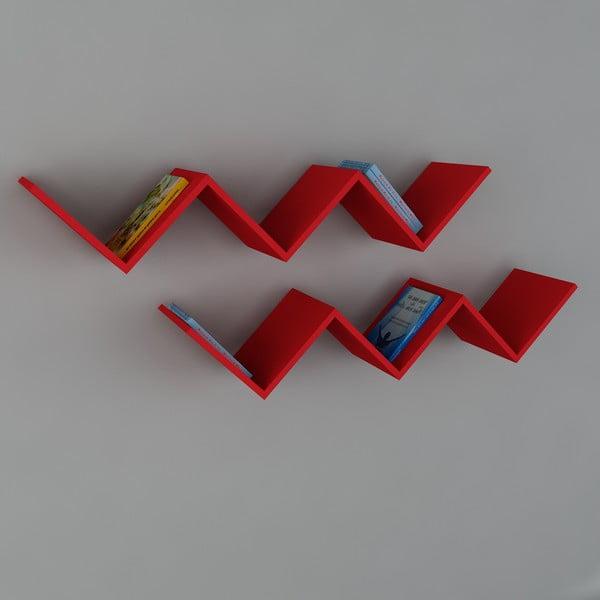 Polica Zig Zag Red, 22x129x50 cm