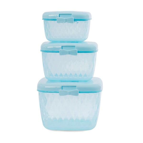 Sada 3 plastových dóz Blue Bow
