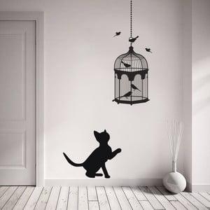 Dekoratívna samolepka na stenu Mačka a vtáky