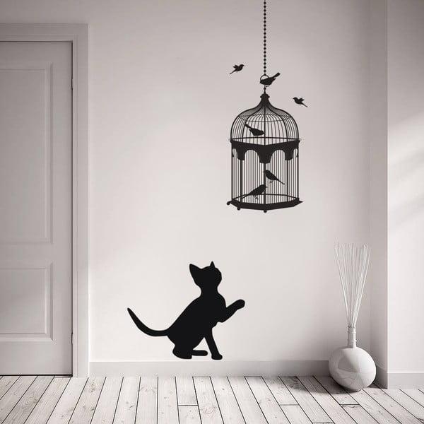 Samolepka na stenu Mačka a vtáčiky, 70x50 cm
