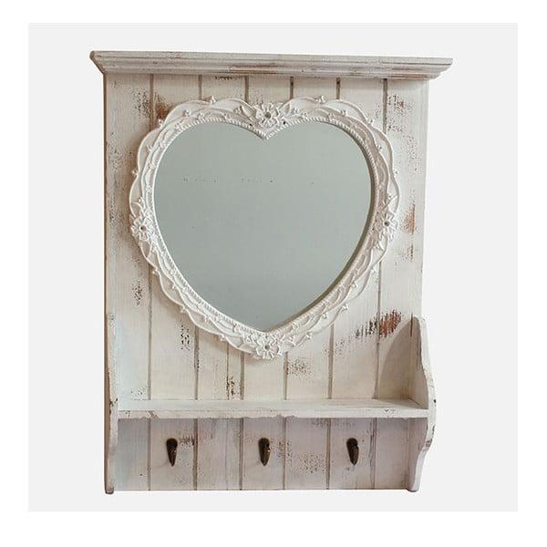 Zrkadlo s poličkou White Days, 50x61 cm