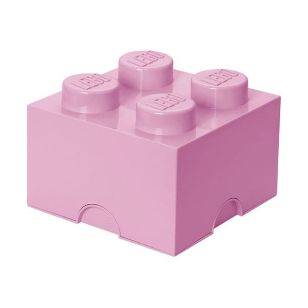 Svetloružový úložný box štvorec LEGO®