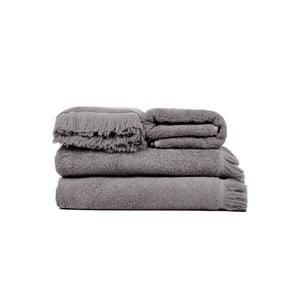 Set 2 sivých bavlnených osušiek a 2 uterákov Casa Di Bassi Soft