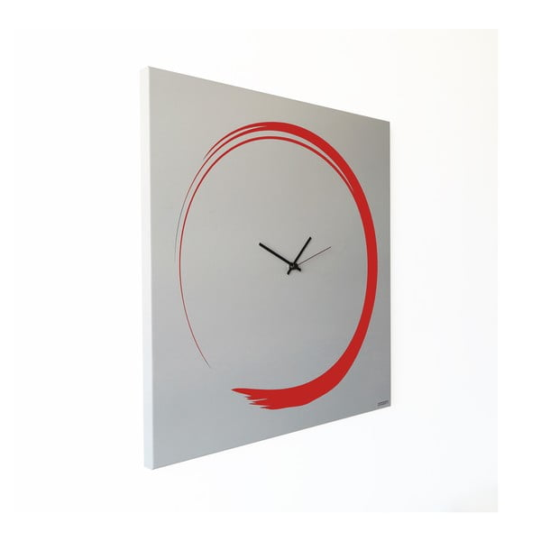 Nástenné hodiny dESIGNoBJECT.it Enso Clock Red, 50 x 50 cm