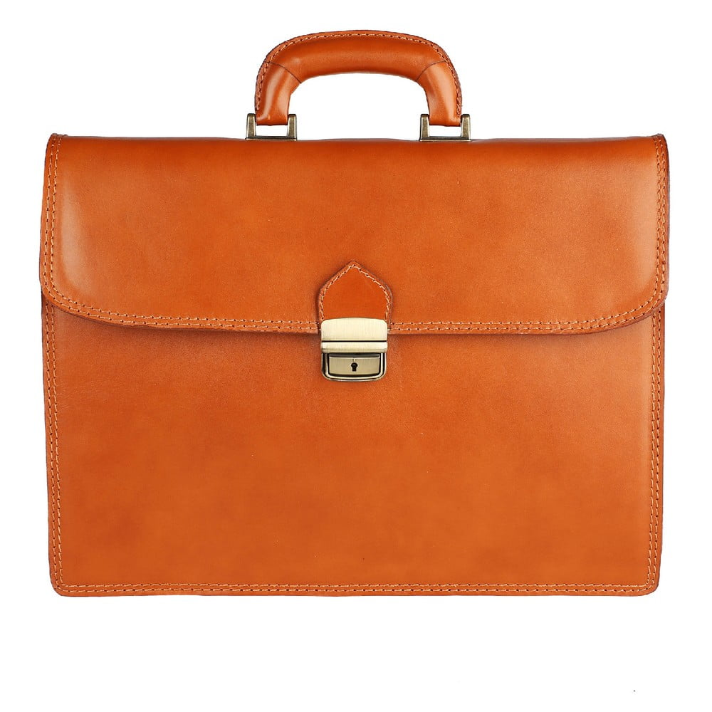 Karamelová kožená taška Chicca Borse Paolo Tan