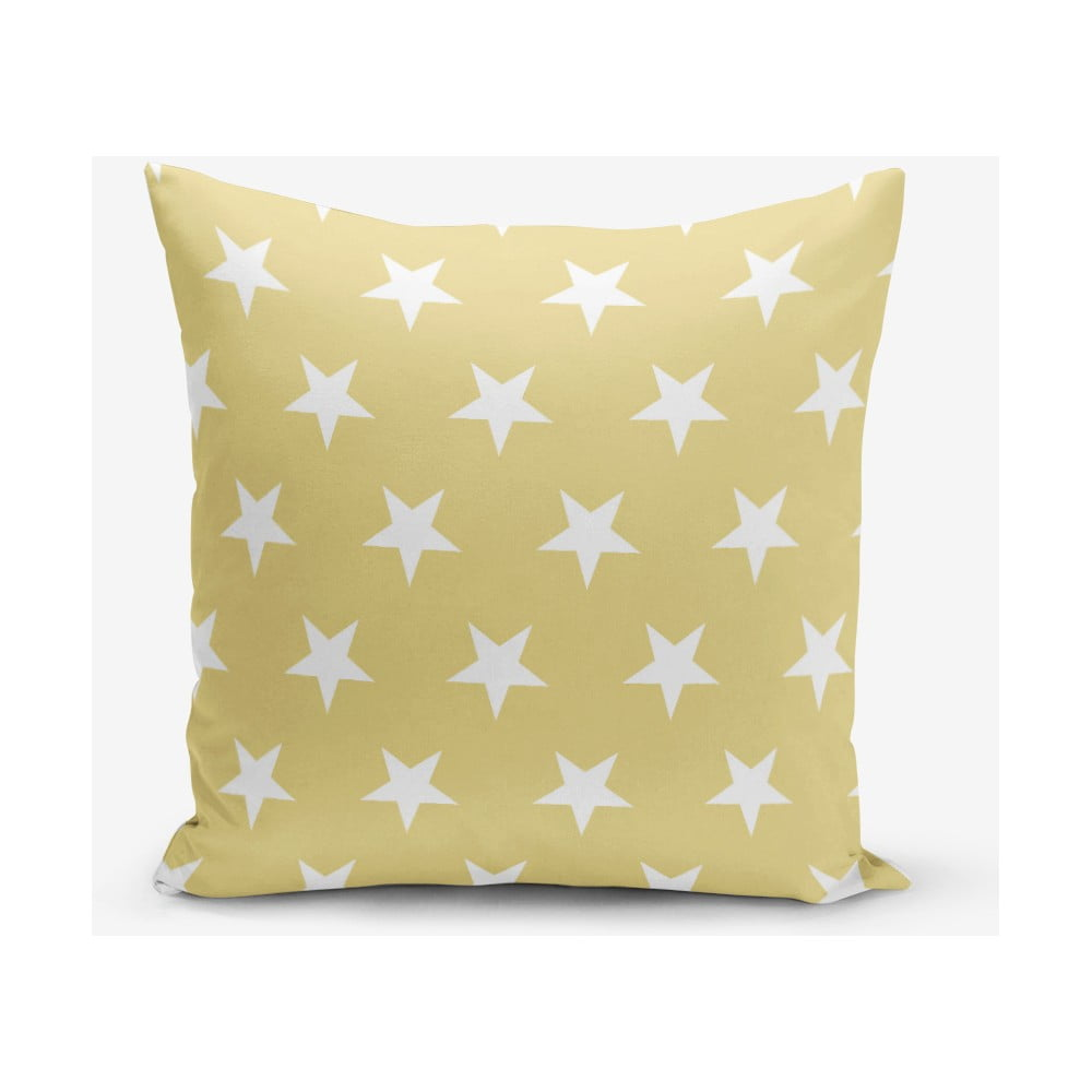 Žltá obliečka na vankúš s motívom hviezdd Minimalist Cushion Covers, 45 × 45 cm