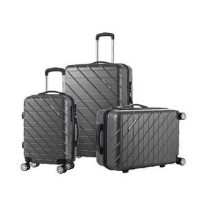 Sada 3 čiernych cestovných kufrov na kolieskach Murano Americano