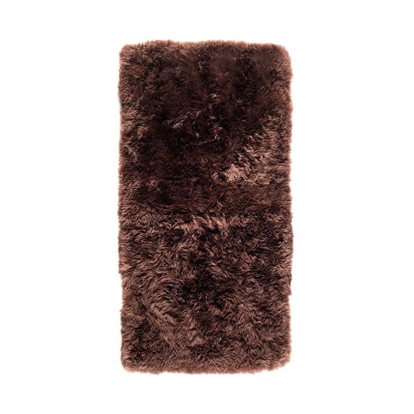 Hnedý koberec z ovčej kožušiny Royal Dream Zealand, 140 x 70 cm