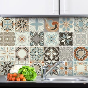 Sada 24 nástenných samolepiek Ambiance Wall Stickers Cement Tiles Rumba, 15×15 cm