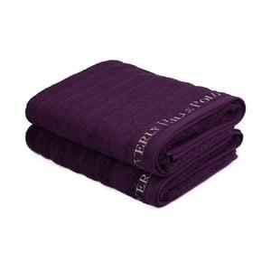 Sada 2 fialových bavlnených uterákov, 140 x 70 cm