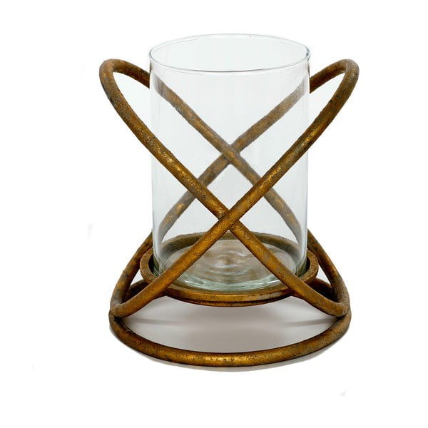 Kovový svietnik Golden, 20x20x23 cm