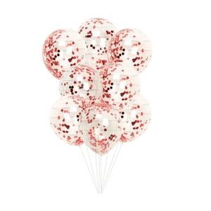 Sada 8 priehľadných balónikov s červenými konfetami Neviti Red & White Dots