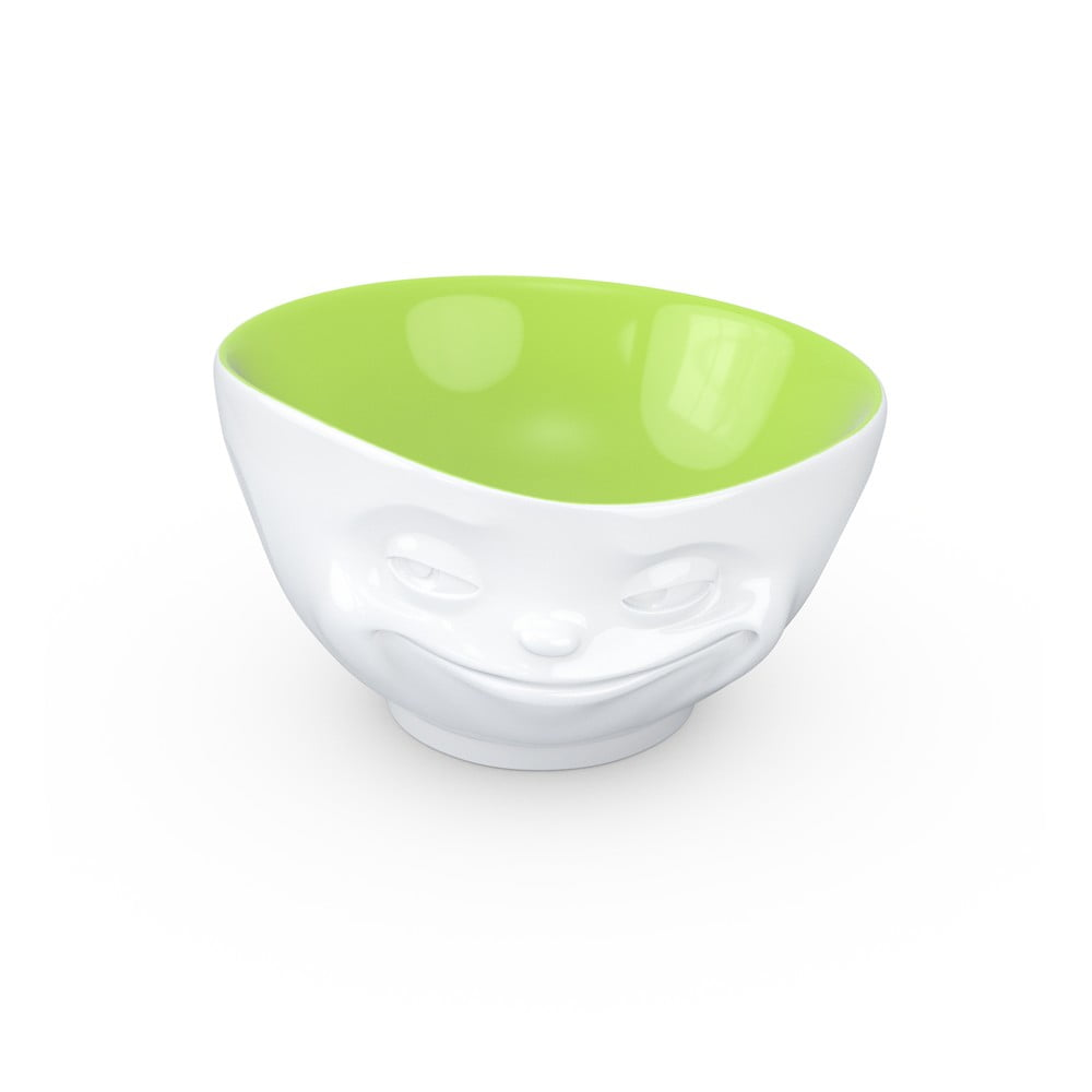 Bielo-pistáciová porcelánová usmievavá miska 58products