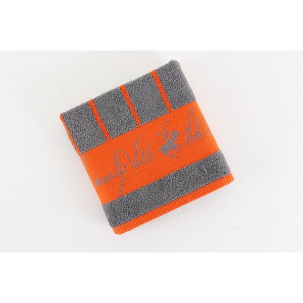 Bavlnený uterák BHPC 50x100 cm, oranžovo-sivý