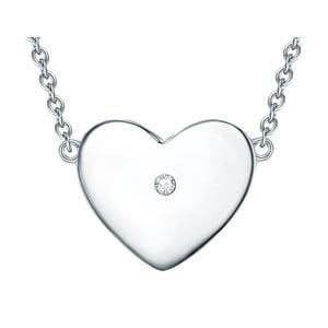Strieborný náhrdelník s pravým diamantom Tess Diamonds Leva, dĺžka 40 cm