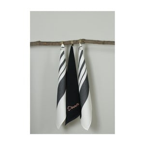 Sada 3 čierno-bielych kuchynských utierok My Home Plus Dinner, 50×70 cm