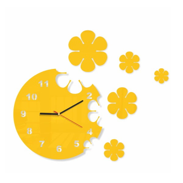 Hodiny z plexiskla Flowers Yellow