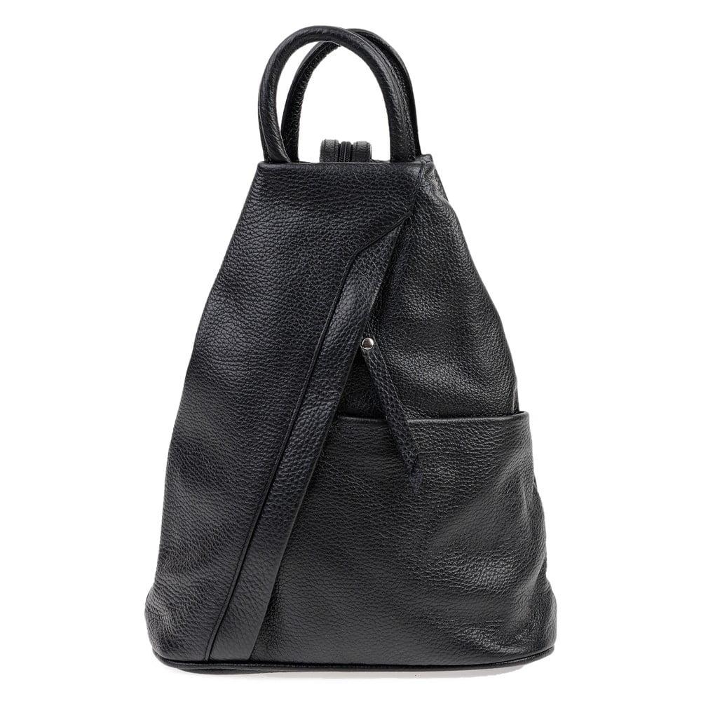 Čierny kožený batoh Carla Ferreri Emilia