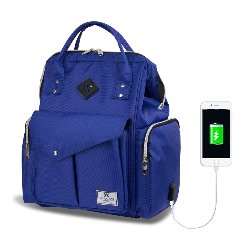 Modrý batoh pre mamičky s USB portom My Valice HAPPY MOM Baby Care Backpack