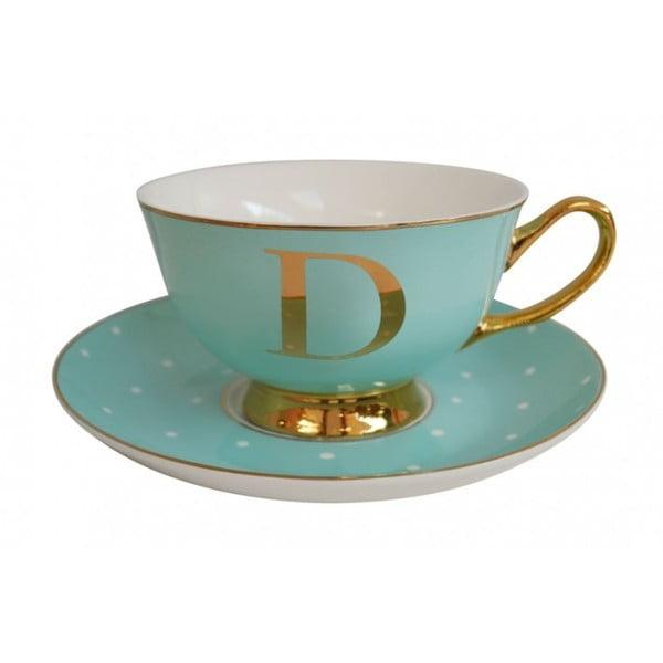 Zelený hrnček s tanierikom s písmenom D Bombay Duck
