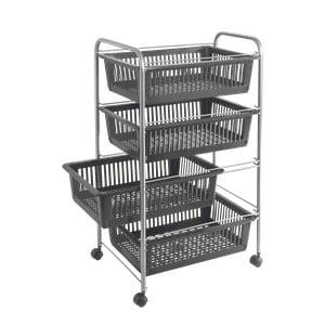 Sivý pojazdný vozík so 4 zásuvkami Metaltex Jumbo