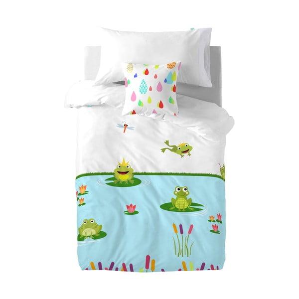 Detské bavlnené obliečky na paplón a vankúš Mr. Fox Happy Frogs, 140×200cm