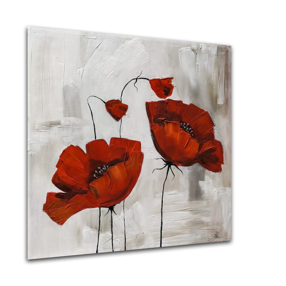 Obraz Styler Glasspik Flower Poppy Bloom, 20 × 20 cm