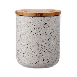Sivá keramická dóza s bambusovým vekom Ladelle Speckle, výška13 cm