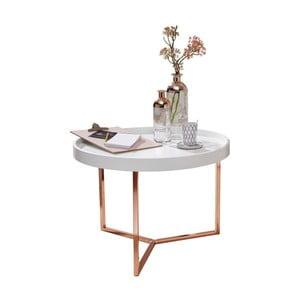 Biely príručný stolík s nohami v medenej farbe Skyport Wohnling Eva, ⌀ 58,5 cm