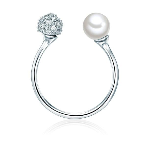 Prsteň v striebornej farbe s bielou perlou Perldesse Perle, veľ. 58
