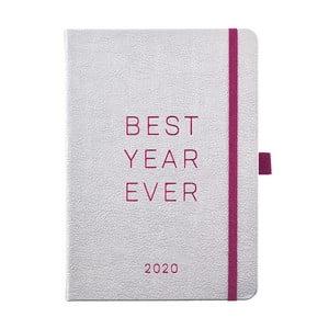 Diár na rok 2020 v striebornej farbe Busy B Vibrant Vibes, 192 strán