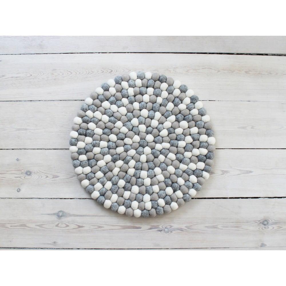 Svetlý sivo-biely guľôčkový vlnený vankúš na sedenie Wooldot Ball Chair Pad, ⌀ 39 cm