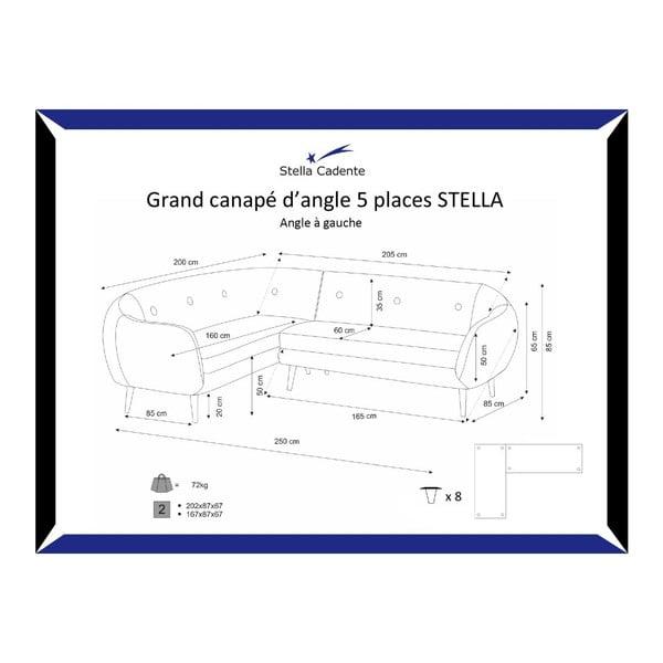 Tmavosivá pohovka Stella Grand s leňoškou na ľavej strane