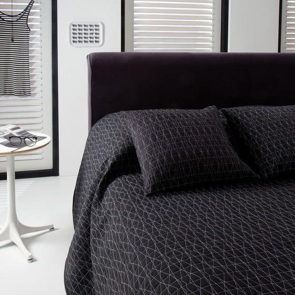 Prikrývka na posteľ Shape Black, 270x270 cm