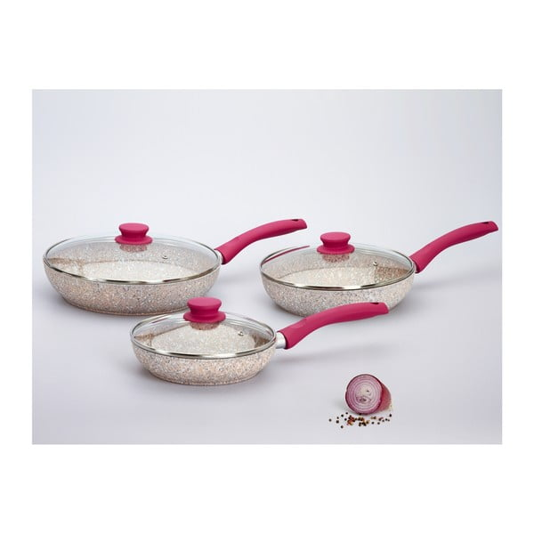 Set 3 panvíc s pokrievkou a ružovou rukoväťou Bisetti Stonerose