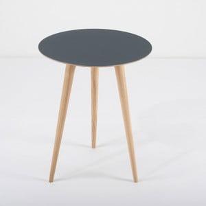Príručný stolík z dubového dreva smodrou doskou Gazzda Arp, Ø 45 cm