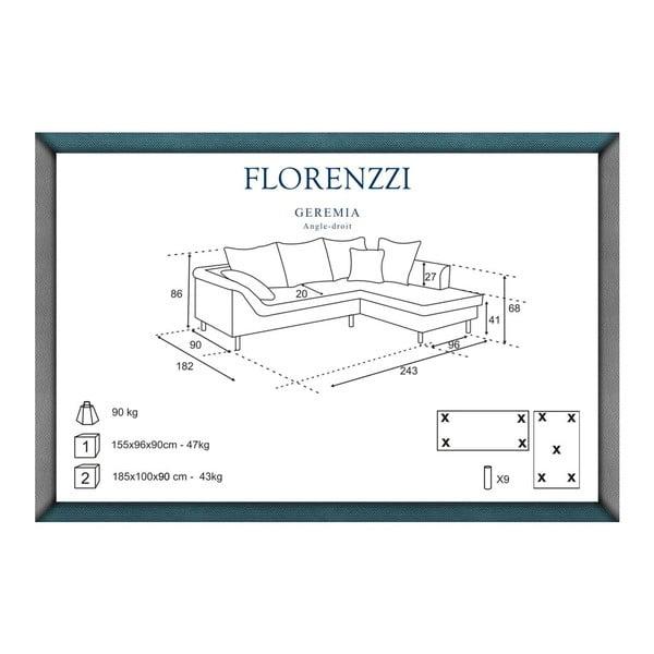Béžová pohovka Florenzzi Geremia s leňoškou na pravej strane