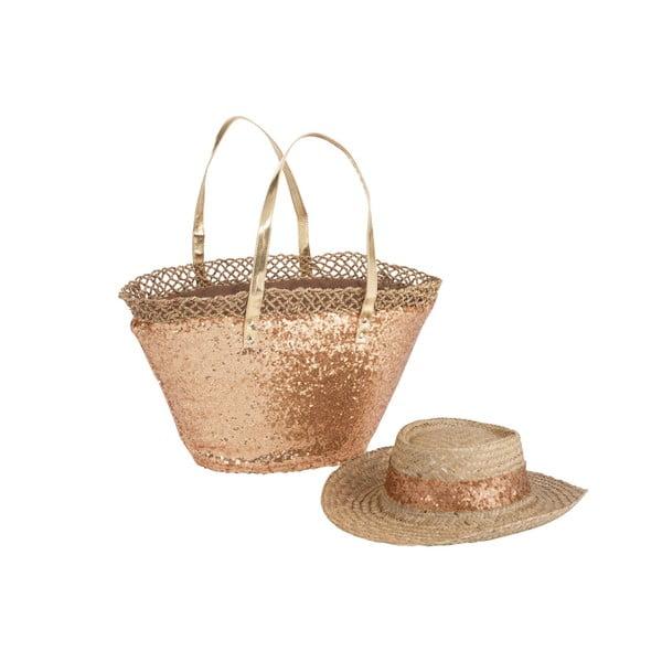 Plážová taška so slameným klobúkom Spangle Gold