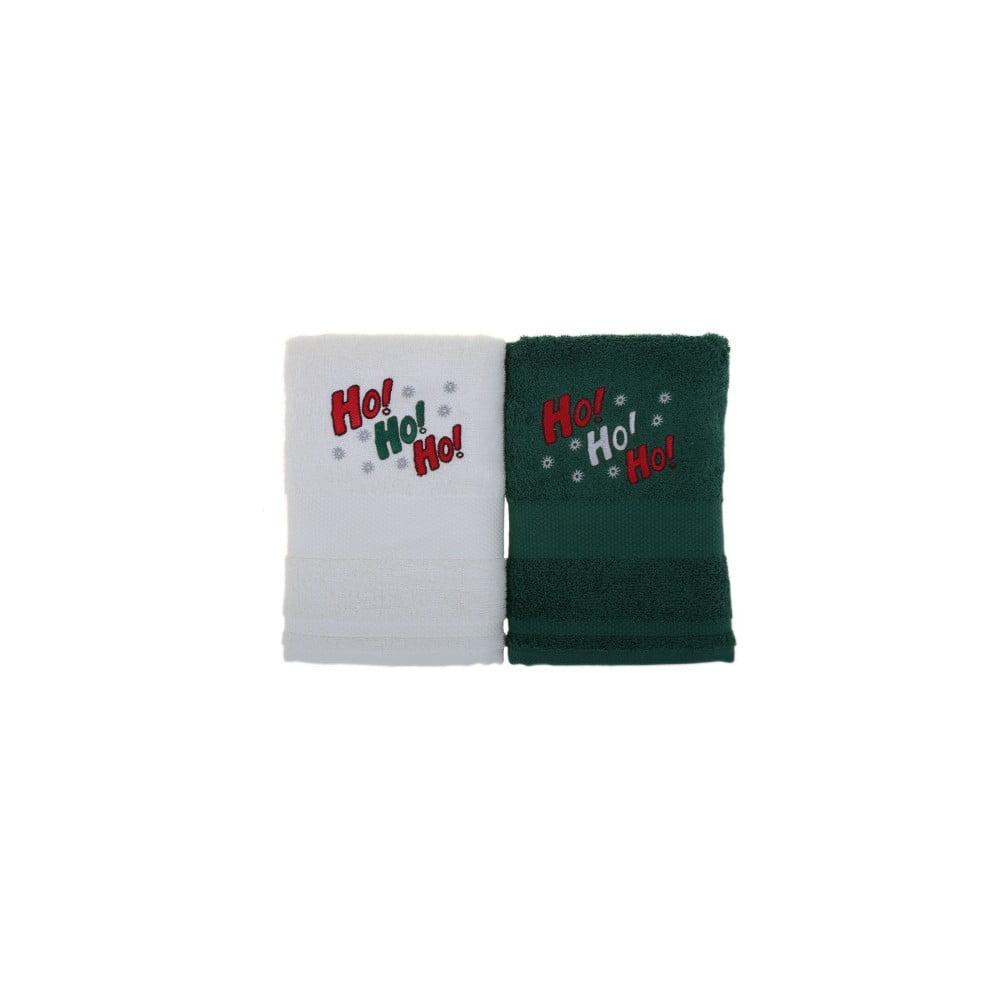 Sada 2 uterákov Ho Ho White&Green, 50x100 cm