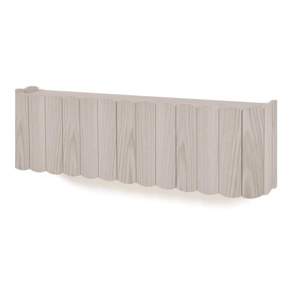 Tmavosivá polica na stenu z bukového dreva HARTÔ, dĺžka 124 cm