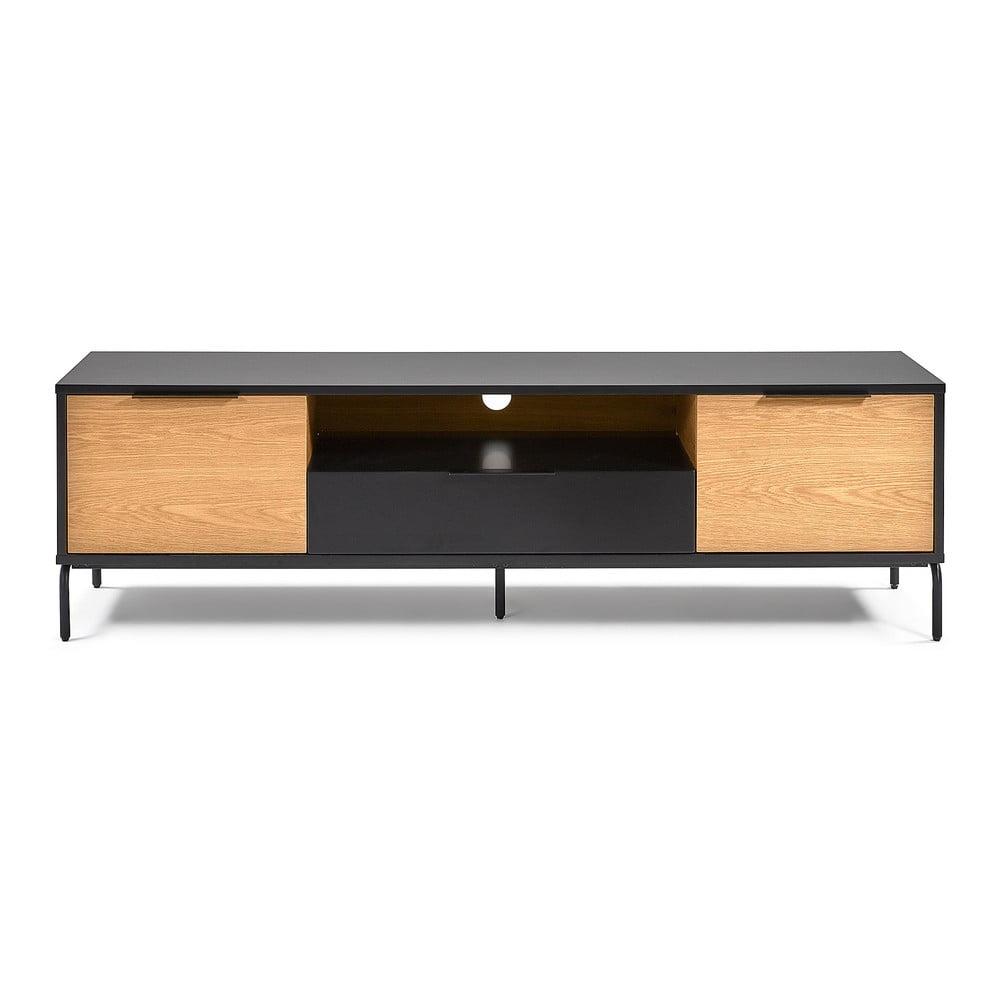 Čierno-hnedý TV stolík La Forma SAVOI, 170 x 50 cm