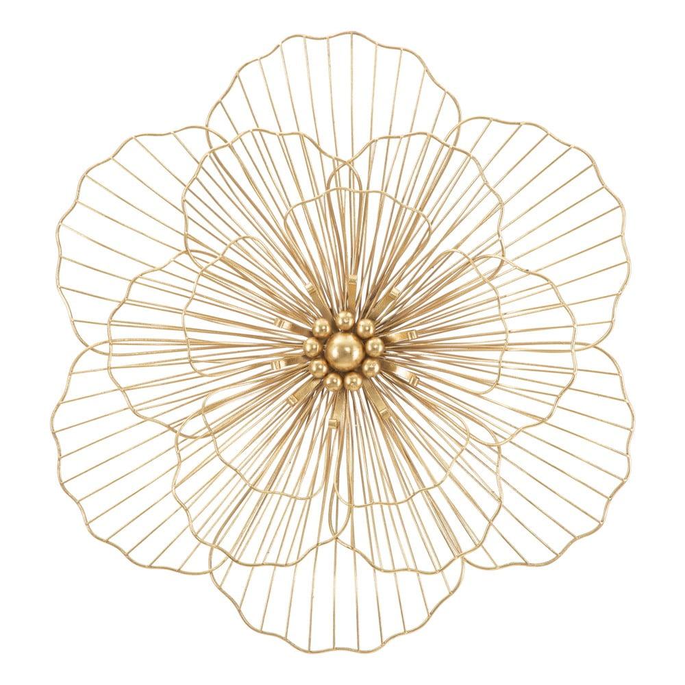 Nástenná dekorácia v zlatej farbe Mauro Ferretti Flower Stick, 58,5 × 55 cm