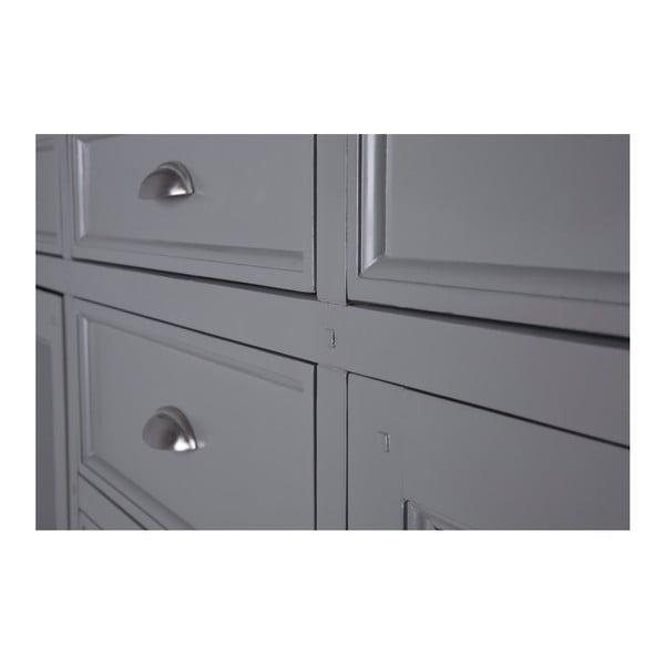 Sivá dvojdverová presklená komoda s 8 zásuvkami Canett Royal