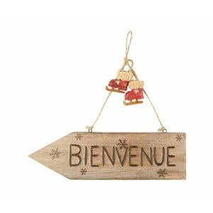 Hnedá dekoratívna ceduľa Antic Line Bienvenue