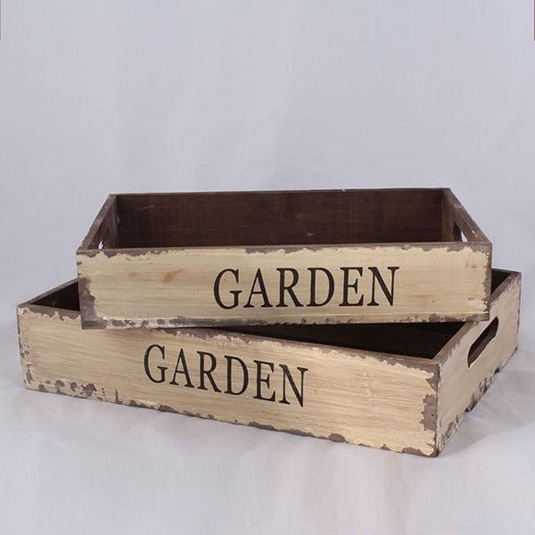 Sada 2 drevených prepraviek Garden Time