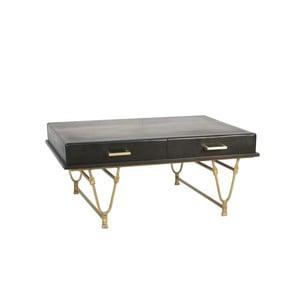 Čierny konferenčný stolík z mangového dreva s detailmi v zlatej farbe Miloo Home Savoy