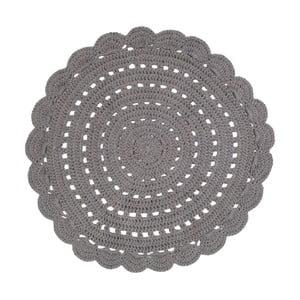 Sivá ručne háčkovaná bavlnená predložka Nattiot Alma, ⌀ 120 cm